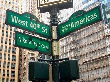 Nikola Tesla Corner Sign