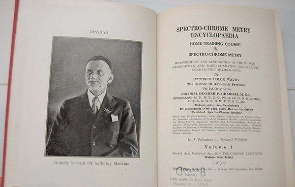 His primary text, the three volume Spectro-Chrome Metry Encyclopedia, was finished in 1933, and has become known as an authoritative treatise on color therapy.