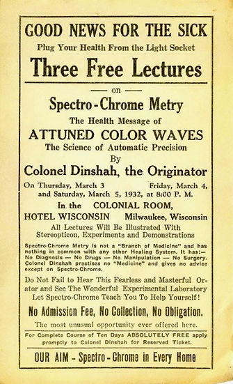 During the 1930s and 40s, Dinshah continued his work with color therapy and was able to instruct more than 800 professionals and laypeople in the techniques of Spectro-Chrome therapy.