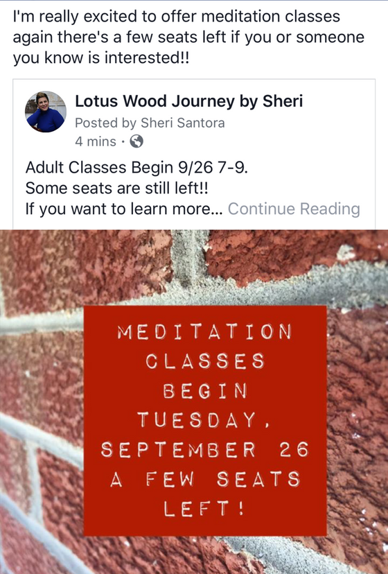 Meditation Classes are Back!! September 26, 2017 7-9pm Berlin NJ