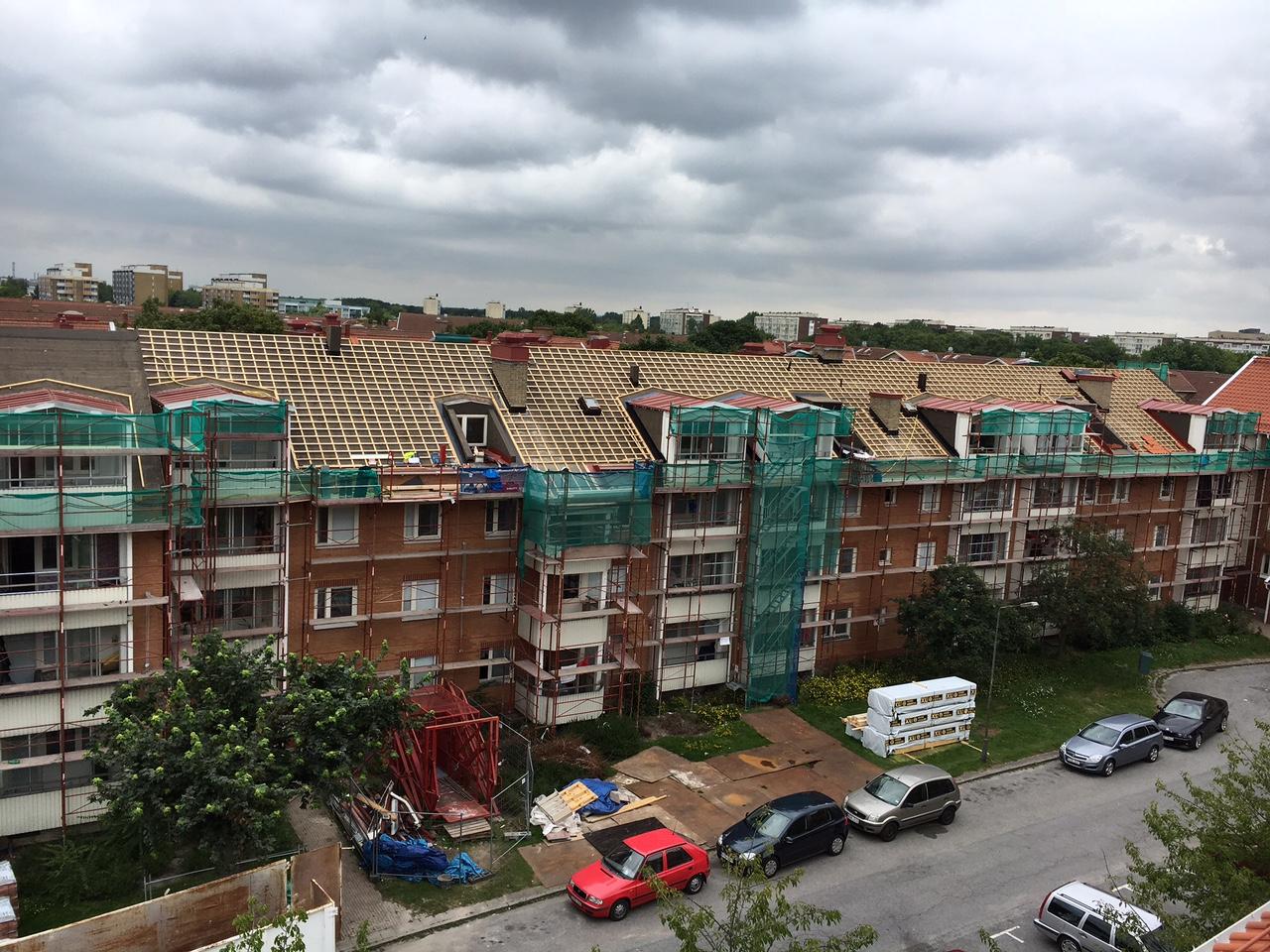 Pågående takrenovering