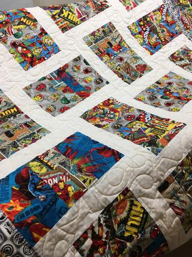 Custom superhero baby quilt