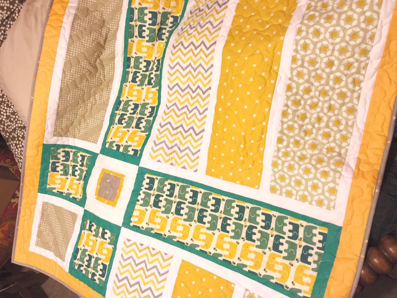 Custom elephant baby quilt
