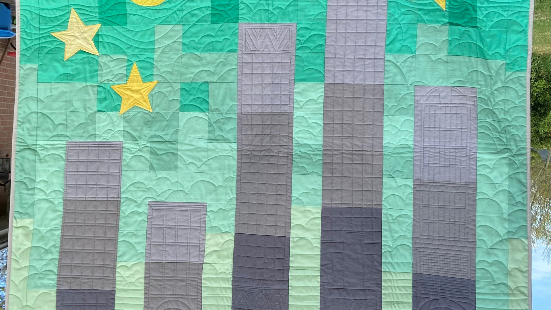 Custom NYC skyline baby quilt