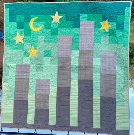 Custom NYC skyline baby quilt