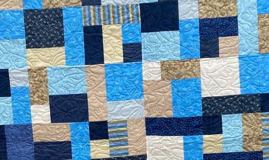 Blue and khaki lap quilt E2E