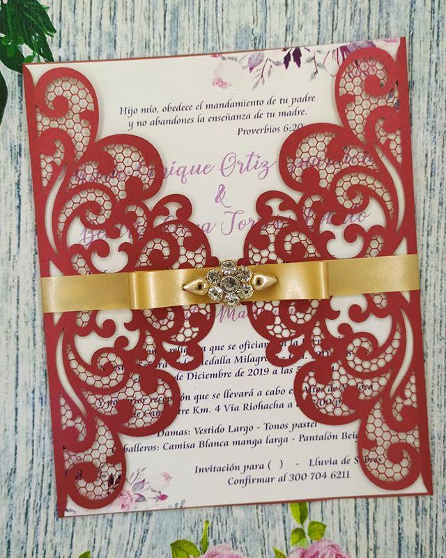 Invitacion Boda Matrimonio Laser Tipo Sobre Elegante Las