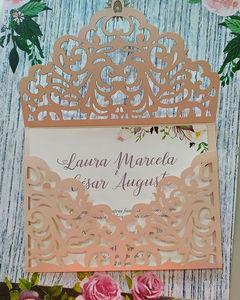 Invitacion Boda Matrimonio Corte Laser Tipo Sobre Las