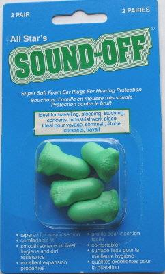 Sound-Off Earplugs - 2 Pairs #204