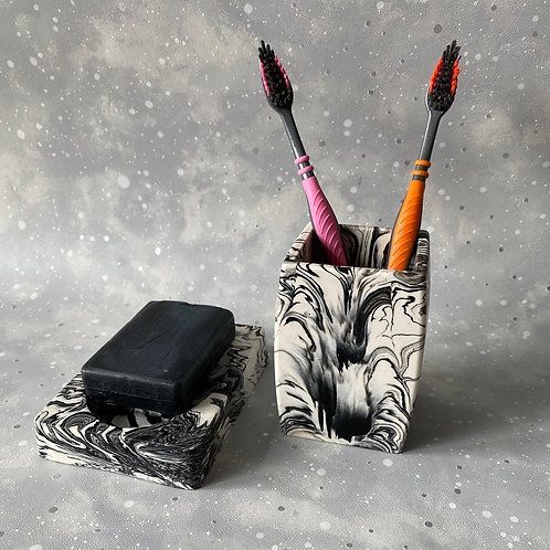 Marble Soap Dish & Toothbrush Holder