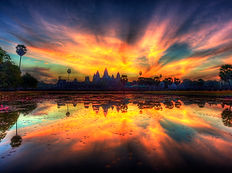 Coucher de soleil sur Angkor