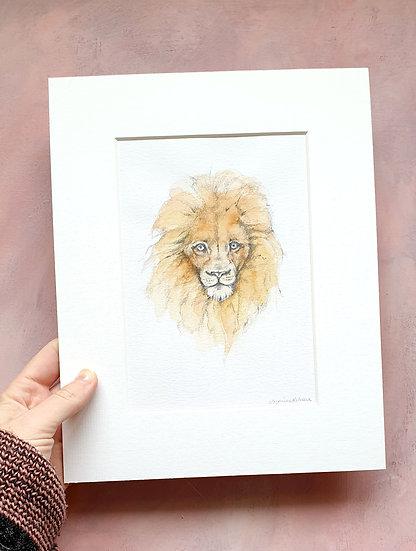 Lion Mounted Watercolour