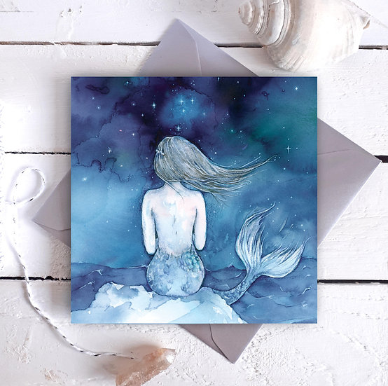 Night Swimming Mermaid Card