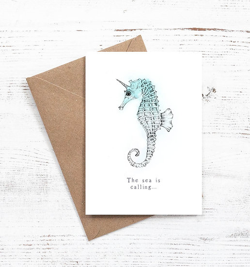 The Sea is Calling Seahorse card