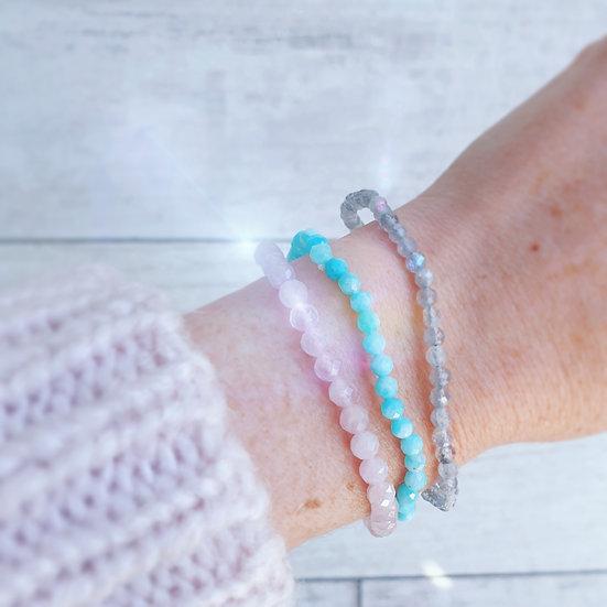 Crystal facet bead bracelets