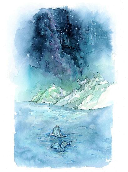 Polperro Cornish Mermaid Print