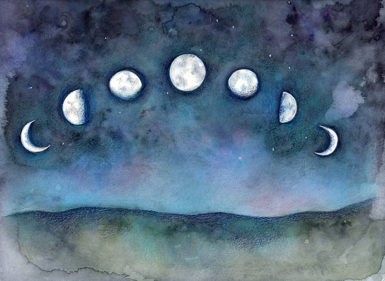 Original Moonphases framed Watercolour