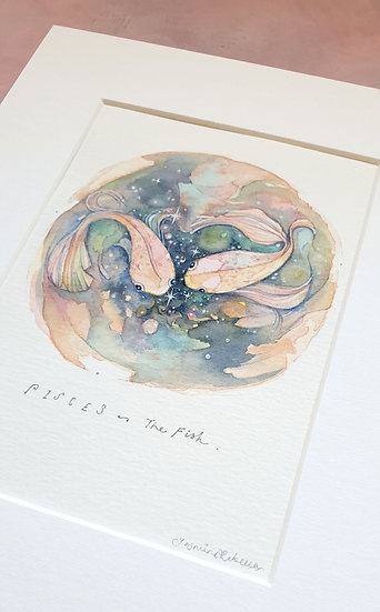 Pisces Mounted Watercolour