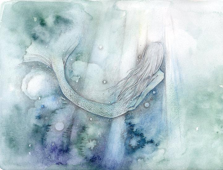 Original I must be a Mermaid framed Watercolour