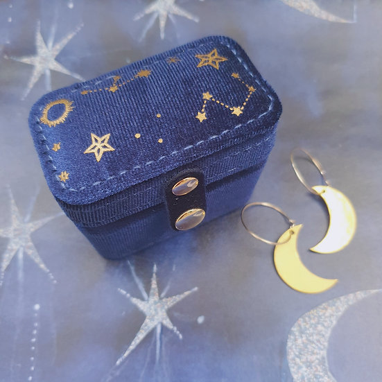 Starry Night Velvet Travel Ring/Jewellery case