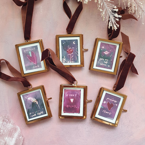 Roses & Feathers ~ Mini paintings