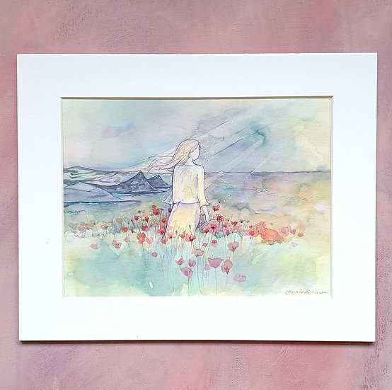 Polly Joke Poppies Mounted Watercolour