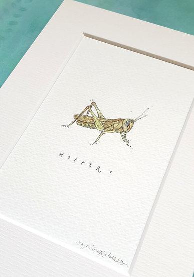 Hopper the Grasshopper Mounted Watercolour