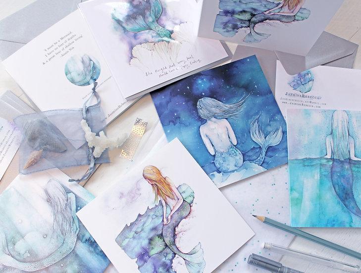 Set of 5 Mermaid Cards