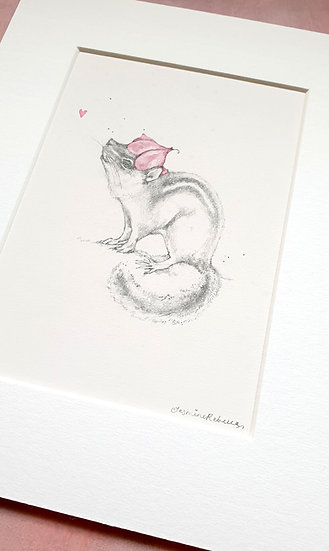 Chipmunk Mounted Watercolour Sketch