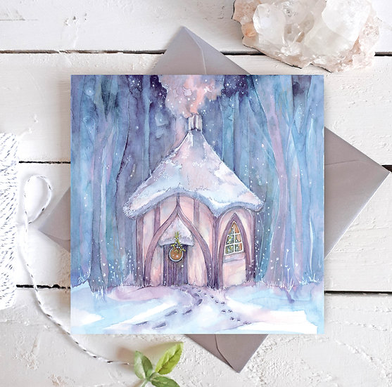 Cosy Yule Cottage Card