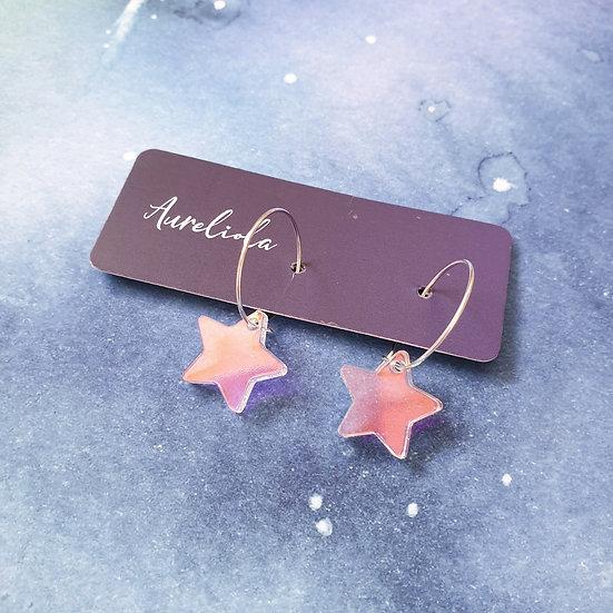 Iridescent Star Hoop earrings