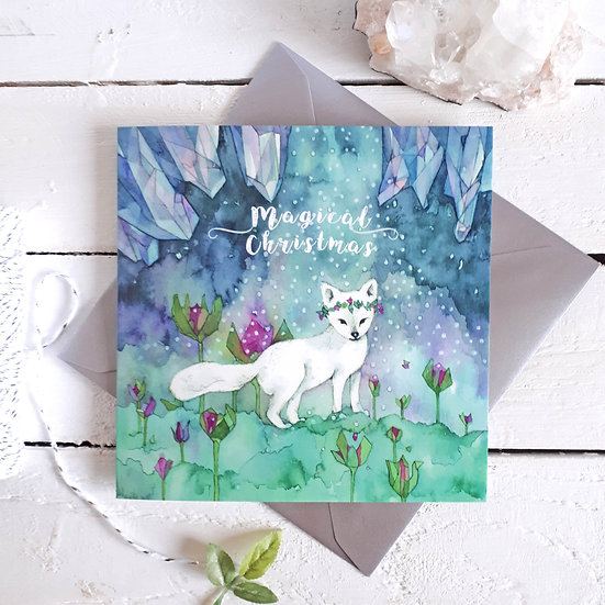 Magical Christmas Arctic fox Card