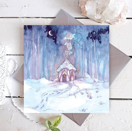 Winter at Cosy Yule Cottage Card