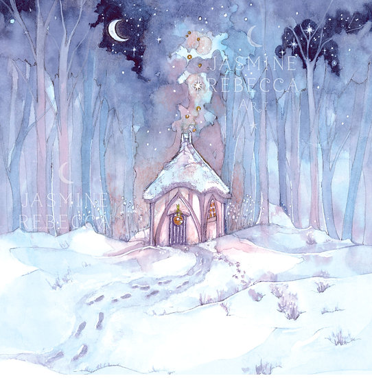 Winter at Cosy Yule Cottage Print