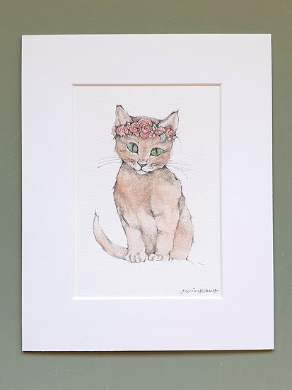 Kitten Mounted Watercolour