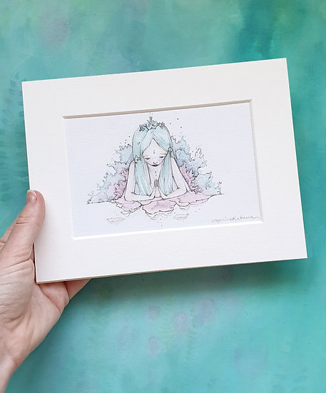 Coral the Mermaid Mounted Watercolour