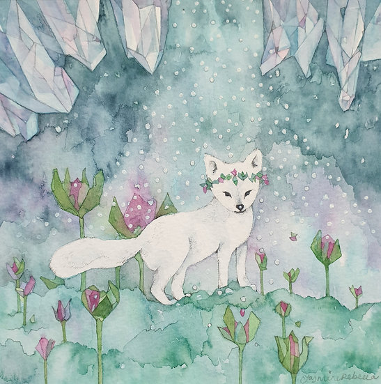 Arctic Fox watercolour