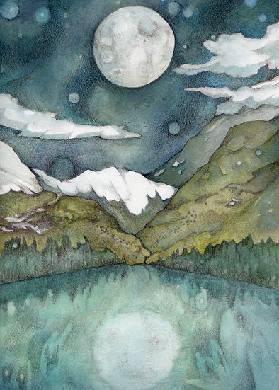 The Bright Moon framed Watercolour
