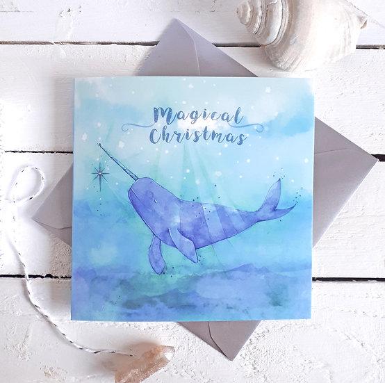 Magical Christmas Narwhal Card