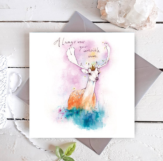 Invisible Crown Deer Card