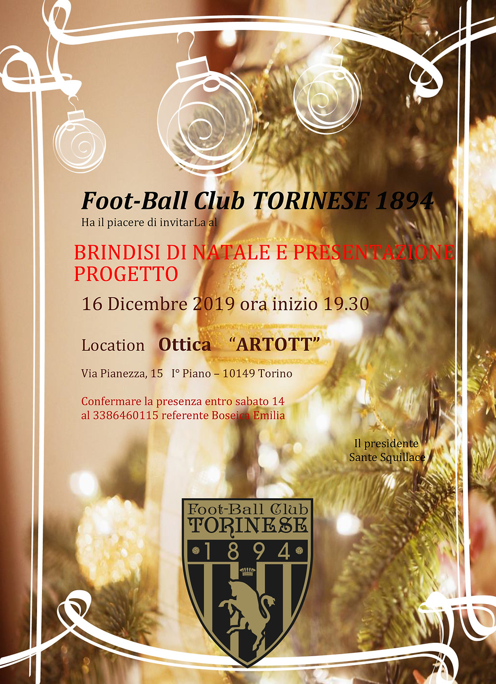 fc torinese invitation card