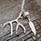 Thumbnail: Silver Deer Antler, Real Deer Antler Bead, Feather & Turquoise Necklace