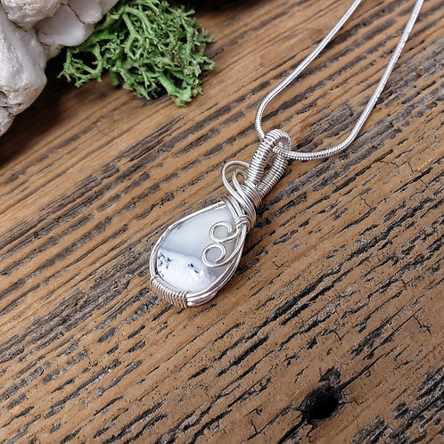 Dendrite Opal Gemstone Pendant, Wire Wrapped Jewelry, Handmade Necklace for Wome
