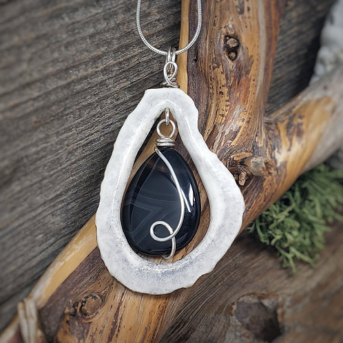 Real Elk Antler and Banded Agate Pendant, Wire Wrapped Jewelry, Handmade