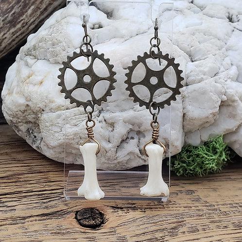 Coyote Bone and Brass Gear Earrings
