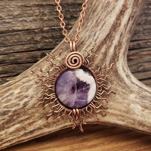 Copper Wire Sun, Eclipsed by a Purple Chevron Amethyst Moon