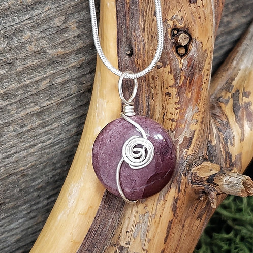Mookaite Gemstone Pendant, Wire Wrapped Necklace