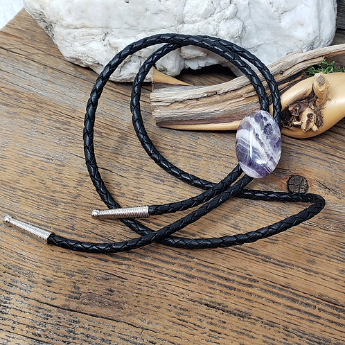 Chevron Amethyst Bolo Tie for Him or Her