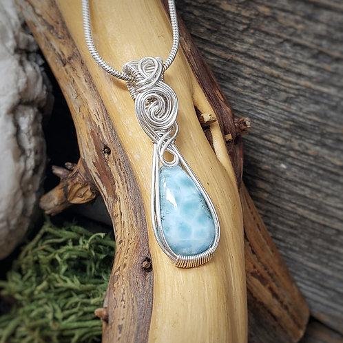 Blue Larimar Gemstone Pendant, Wire Wrapped Jewelry, Handm