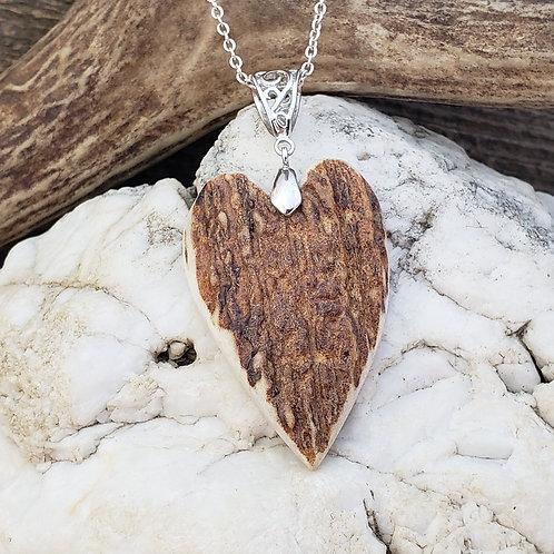 Elk Antler Heart Pendant